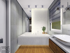 ŁAZIENKA W DOMU W JASTRZĘBIU ZDROJU - Mała biała łazienka na poddaszu w bloku w domu jednorodzinnym z oknem, styl nowoczesny - zdjęcie od SKAZANI NA DESIGN Studio Architektury