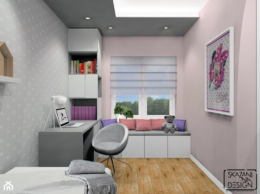 POKÓJ DLA DZIEWCZYNKI SOSNOWIEC 1 - Mały szary różowy pokój dziecka dla chłopca dla dziewczynki dla ucznia dla nastolatka, styl nowoczesny - zdjęcie od SKAZANI NA DESIGN Studio Architektury