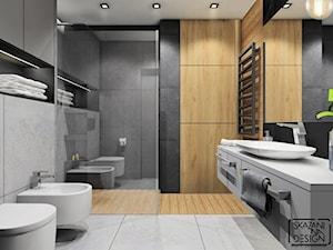 ŁAZIENKA MIESZKANIE RUDA ŚLĄSKA - Mała czarna szara łazienka na poddaszu w bloku w domu jednorodzinnym bez okna, styl industrialny - zdjęcie od SKAZANI NA DESIGN Studio Architektury