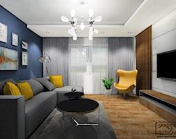 SALON JASTRZĘBIE ZDRÓJ - Średni niebieski salon, styl nowoczesny - zdjęcie od SKAZANI NA DESIGN Studio Architektury