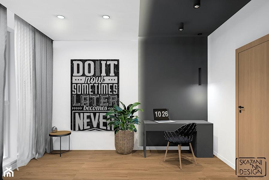 MIESZKANIA GLIWICE III - Średnie szare białe biuro domowe kącik do pracy w pokoju, styl nowoczesny - zdjęcie od SKAZANI NA DESIGN Studio Architektury