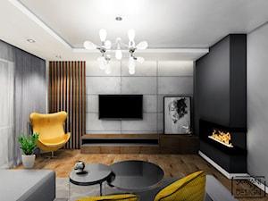 SALON JASTRZĘBIE ZDRÓJ - Mały szary czarny salon, styl nowoczesny - zdjęcie od SKAZANI NA DESIGN Studio Architektury