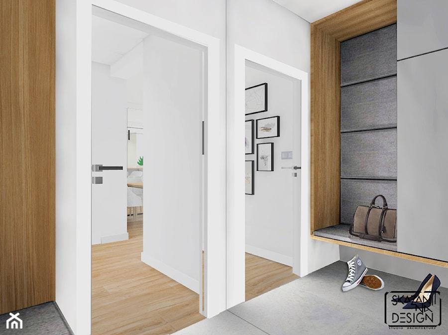DOM RYBNIK - Mały biały szary hol / przedpokój, styl nowoczesny - zdjęcie od SKAZANI NA DESIGN Studio Architektury