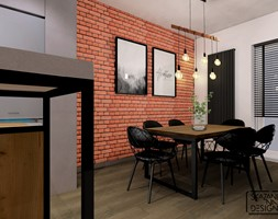 MIESZKANIE RUDA ŚLĄSKA STREFA DZIENNA - Duża otwarta biała beżowa jadalnia jako osobne pomieszczenie, styl industrialny - zdjęcie od SKAZANI NA DESIGN Studio Architektury