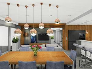 DOM JEDNORODZINNY Z AKCENTAMI MIEDZI - Duża otwarta szara jadalnia w kuchni w salonie, styl nowoczesny - zdjęcie od SKAZANI NA DESIGN Studio Architektury