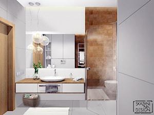 ŁAZIENKA MIESZKANIE GLIWICE - Średnia biała łazienka w bloku w domu jednorodzinnym bez okna, styl nowoczesny - zdjęcie od SKAZANI NA DESIGN Studio Architektury