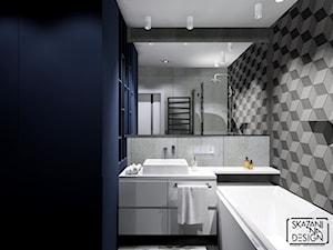 ŁAZIENKA W CHORZOWIE - Mała niebieska szara łazienka bez okna, styl nowoczesny - zdjęcie od SKAZANI NA DESIGN Studio Architektury