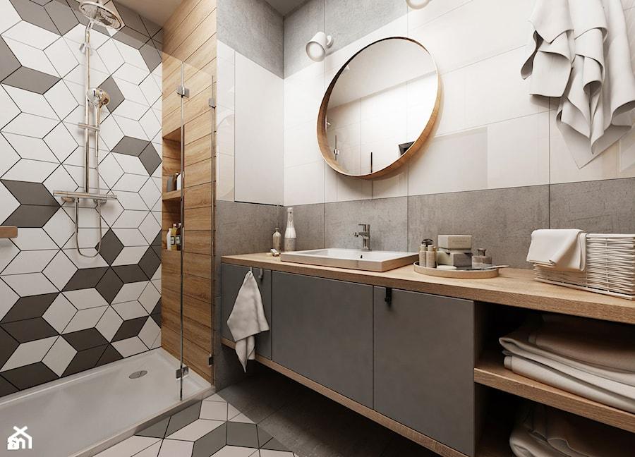 Inspiracje - Średnia biała szara łazienka, styl nowoczesny - zdjęcie od Anna
