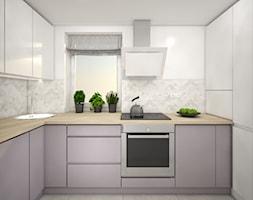 Male mieszkanie - Średnia otwarta biała kuchnia w kształcie litery l z oknem, styl skandynawski - zdjęcie od Wnętrza od NOWA