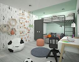 Pokój dla dziecka - Średni zielony kolorowy pokój dziecka dla chłopca dla dziewczynki dla ucznia dla malucha dla nastolatka, styl skandynawski - zdjęcie od Wnętrza od NOWA