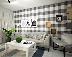 Małe mieszkanie wersja 2 - Mały kolorowy salon, styl skandynawski - zdjęcie od Wnętrza od NOWA