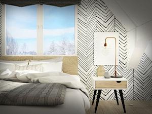 Sypialnia na poddaszu - Średnia kolorowa sypialnia dla gości na poddaszu, styl skandynawski - zdjęcie od Wnętrza od NOWA