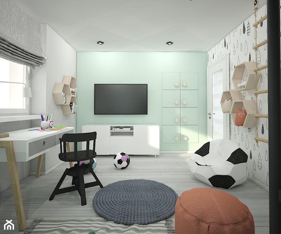 Pokój dla dziecka - Średni biały zielony pokój dziecka dla chłopca dla dziewczynki dla ucznia dla nastolatka, styl skandynawski - zdjęcie od Wnętrza od NOWA