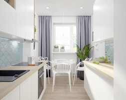 Mieszkanie na wynajem dla studentów - Średnia zamknięta wąska biała kuchnia dwurzędowa z oknem, styl skandynawski - zdjęcie od Wnętrza od NOWA