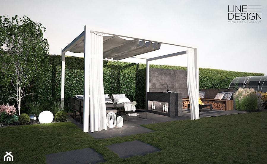 Projekt ogrodu przydomowego w Solcu - Średni ogród za domem z altaną, styl nowoczesny - zdjęcie od Line Design