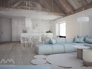Projekt wnętrz domu pod Białymstokiem_wersja1 - Duży beżowy salon z kuchnią z jadalnią z antresolą, styl skandynawski - zdjęcie od Ania Masłowska