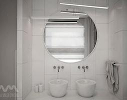 Projekt domu w Józefowie - Średnia biała łazienka w domu jednorodzinnym z oknem, styl minimalistyczny - zdjęcie od Ania Masłowska