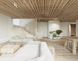 Dom nad jeziorem. - Duży szary salon z jadalnią, styl tradycyjny - zdjęcie od Ania Masłowska