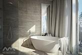 szare zasłony w łazience, wanna wolnostojąca, szare ściany kamiennne
