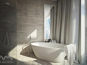 Projekt domu w Józefowie - Mała beżowa łazienka w domu jednorodzinnym z oknem, styl minimalistyczny - zdjęcie od Ania Masłowska