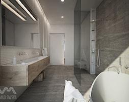 Projekt domu w Józefowie - Duża beżowa łazienka jako salon kąpielowy z oknem, styl minimalistyczny - zdjęcie od Ania Masłowska