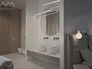 Projekt domu w Józefowie - Średnia beżowa łazienka w domu jednorodzinnym, styl minimalistyczny - zdjęcie od Ania Masłowska