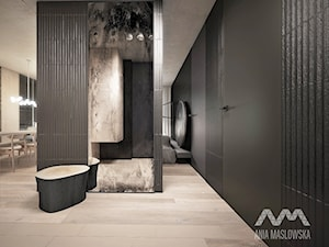 mieszkanie 60 m2 - Średni czarny hol / przedpokój, styl minimalistyczny - zdjęcie od Ania Masłowska