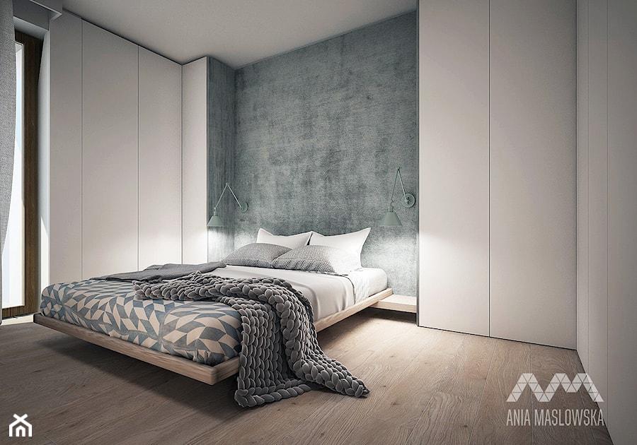 Wilanów - Średnia szara sypialnia małżeńska z balkonem / tarasem, styl skandynawski - zdjęcie od Ania Masłowska