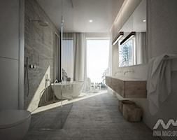 Projekt domu w Józefowie - Duża biała brązowa łazienka w domu jednorodzinnym jako salon kąpielowy z oknem, styl minimalistyczny - zdjęcie od Ania Masłowska