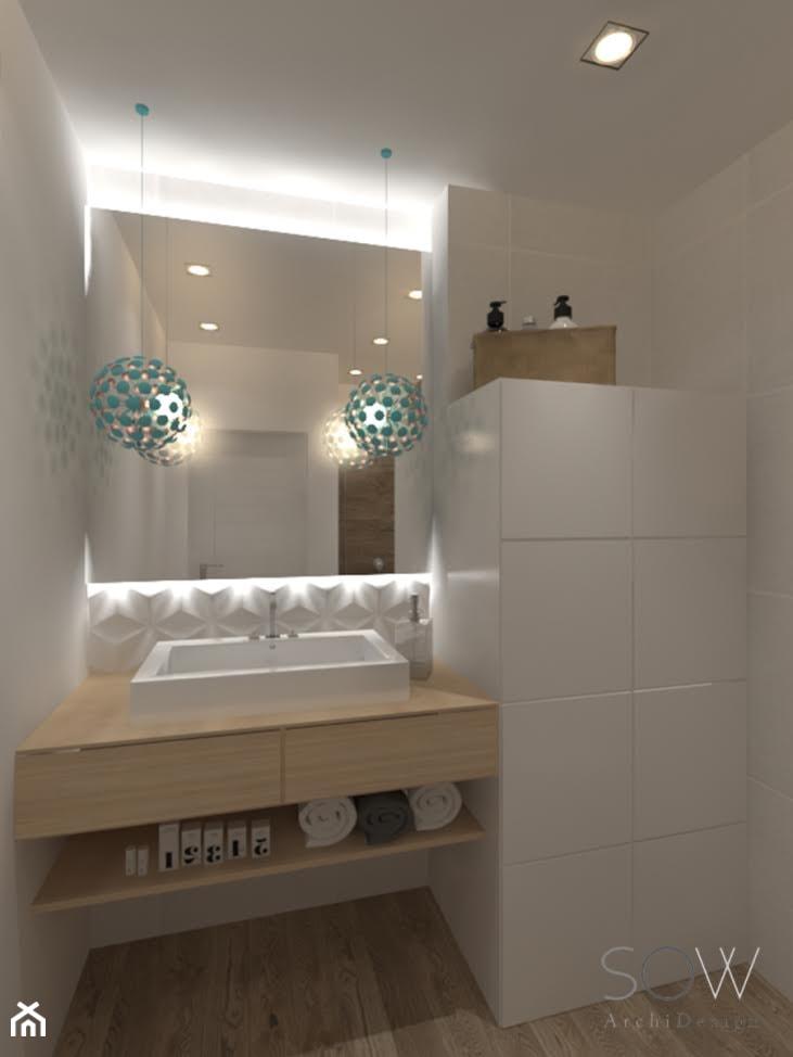 Projekt domu pod Warszawą - Mała średnia łazienka, styl nowoczesny - zdjęcie od Architektura wnętrz Sylwia Woch - Homebook