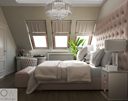 Projekt domu w Ożarowie Mazowieckim - Średnia beżowa sypialnia małżeńska na poddaszu, styl glamour - zdjęcie od Architektura wnętrz Sylwia Woch