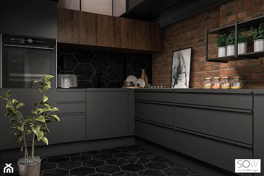 Kawalerka z antresolą - Średnia zamknięta czarna kuchnia w kształcie litery l, styl industrialny - zdjęcie od Architektura wnętrz Sylwia Woch