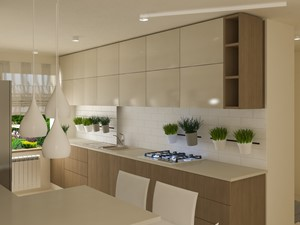 Wnętrza w ciepłym, eleganckim klimacie - Średnia otwarta biała beżowa kuchnia dwurzędowa w aneksie z oknem, styl nowoczesny - zdjęcie od Architektura wnętrz Sylwia Woch