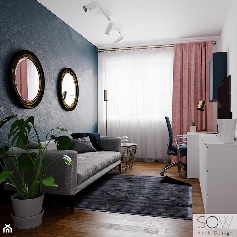 Stylowe mieszkanie - Średnie szare białe biuro kącik do pracy w pokoju, styl eklektyczny - zdjęcie od Architektura wnętrz Sylwia Woch