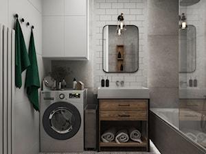 Projekt apartamentu na Grzybowskiej w Warszawie - Mała szara łazienka w bloku w domu jednorodzinnym bez okna, styl industrialny - zdjęcie od Architektura wnętrz Sylwia Woch