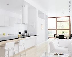 Biały okap wyspowy Cylindro w nowoczesnej kuchni - zdjęcie od GLOBALO.PL - Ciche i wydajne okapy kuchenne - Homebook