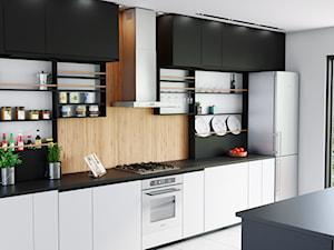 Okap Atino 70 w przytulnej kuchni w drewnie
