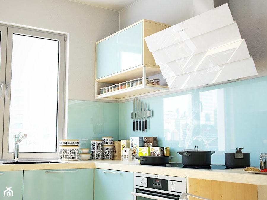 Pastelowa niebieska kuchnia z okapem ze szkła Larto White   -> Kuchnia Z Okapem