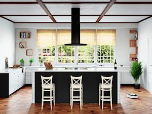 Wielka klasyczna kuchnia w czerni z okapem Divida Isola 90 Black