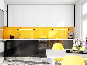 Energetyczna intensywnie żółta kuchnia z okapem Floweri Black 60