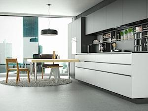 Elegancka czarna kuchnia w stylu minimalistycznym z okapem Loteo Grey