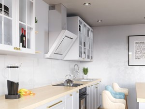 Biały okap Lagardio 90 w jasnej kuchni