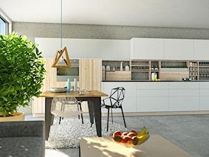 Kuchnia z jadalnią otwarta na salon w stylu minimalistycznym z okapem Loteo