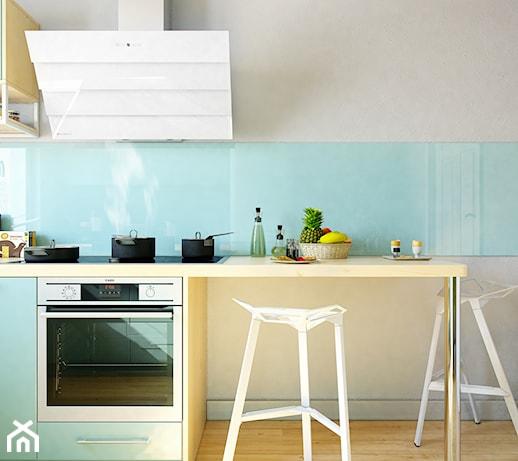 Pastelowa niebieska kuchnia z okapem ze szkła Larto White  zdjęcie od GLOBAL   -> Niebieska Kuchnia Inspiracje