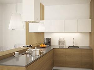 Minimalistyczna kuchnia z wyspą oraz białym okapem wyspowym Toredo White