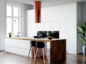 Wyjątkowy miedziany okap Cylindro w przestronnej białej kuchni