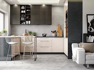Okap Silentio w beżowej, nowoczesnej kuchni