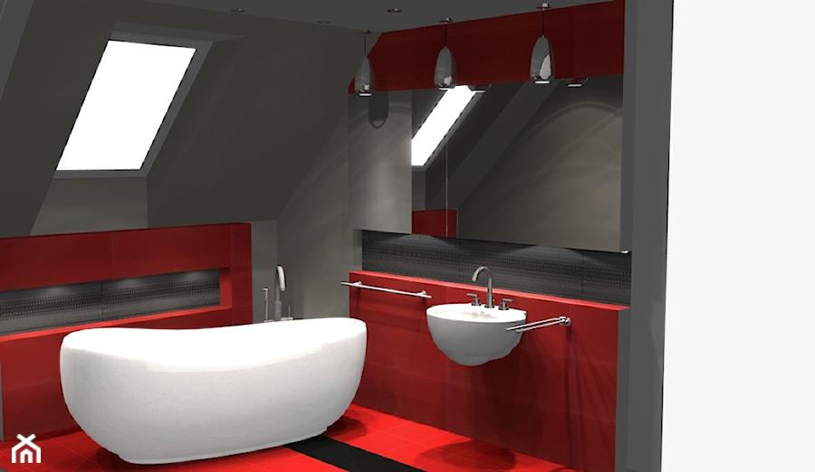 łazienka Szaro Czerwona Zdjęcie Od Unicad Design Homebook