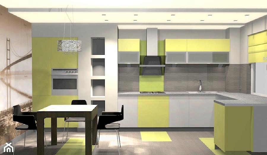 kuchnia szaro limonkowa  zdjęcie od Unicad Design
