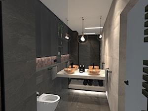 Łazienka z miedzianą mozaiką - Średnia czarna szara łazienka w bloku w domu jednorodzinnym bez okna, styl industrialny - zdjęcie od Unicad Design